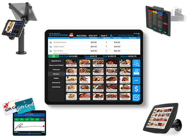 Aldelo iPad POS with Kiosk Multi-Store Gift Ktichen Display